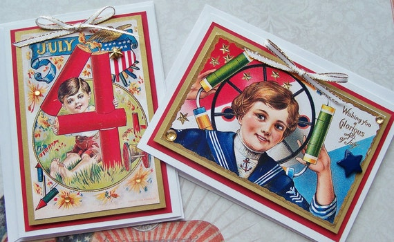 Patriotic 4th of July NOTECARDS Victorian Handmade Vintage Inspired  - Set of 8