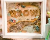 GROW Paper Art Shadowbox, Quilled Typography and Flowers