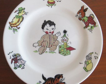 Vintage 50s Meyer Restaurant China Toyland Childrens Ceramic Plate