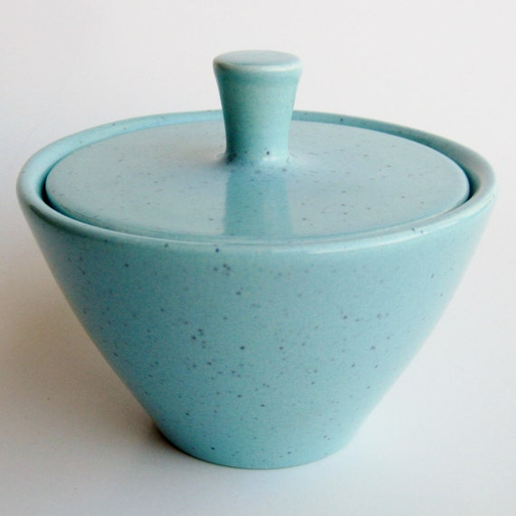 Vintage 50s Blue Speckle California Pottery Bauer Covered Sugar Bowl & Lid Mint Condition