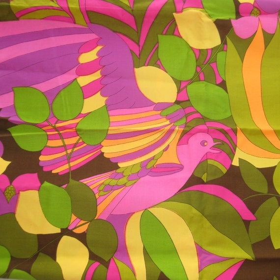 Vintage 60s Vibrant Tropical Pink Orange & Green Exotic Bird Joseph Goldinger Cotton Fabric Remnant
