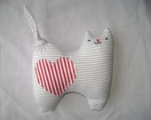 Stuffed Toy Cat - In light grey, red and white stripes