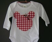 Baby onesie with Mickey/Minnie Mouse silhouette in Red Gingham