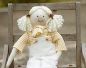 Handmade Rag Doll - Country Cloth Doll, Maddy, in her white Overall with Yellow/White shirt
