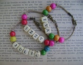 Handmade Leather Name Bracelet for Kids with Wooden Beads - Made to order