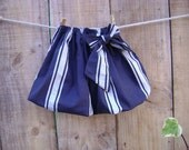 SALE - Toddler Bubble skirt in Navy and White stripes with Bow - size 18-24m