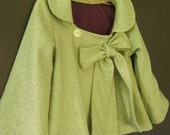 Girls Swing Coat with Bow in Lime Green Wool with Purple lining - 12m -2T