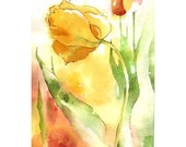 Weave Me the Sunshine - Full Sized Print of radiant tulips in glowing reds, yellows, mossy green