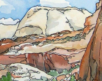 Original watercolor Cresta Chaparral - American southwest desert canyon in rust, gold and tan.