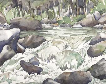Shady Creek - giclee print of splashing Mountain Waterfall in greys, mossy green, rust, gold