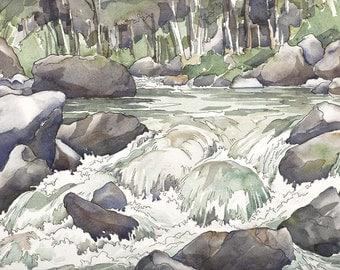 Shady Creek Splashing Mountain Waterfall Print
