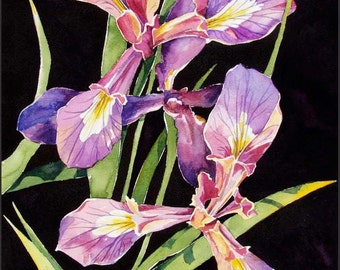 Wild Iris - small print lavender, purple, gold and moss green