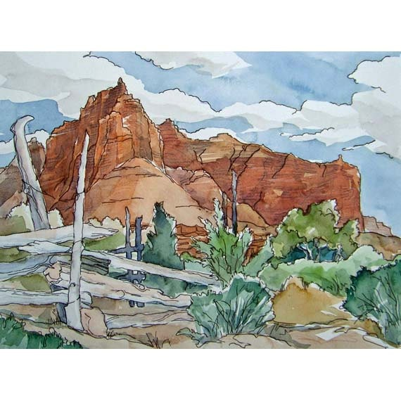 Cowboy Corral - Small Print of American Western Desert Southwest Watercolor