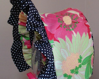 Baby Bonnet-Vibrant Floral with Black and White Polka Dots-Reversible-Double Ruffle