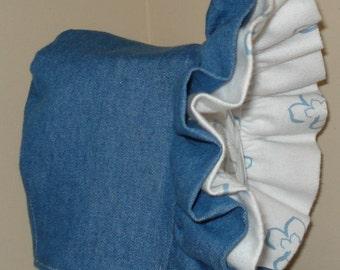 Baby Bonnet- Soft Denim with Warm Flannel