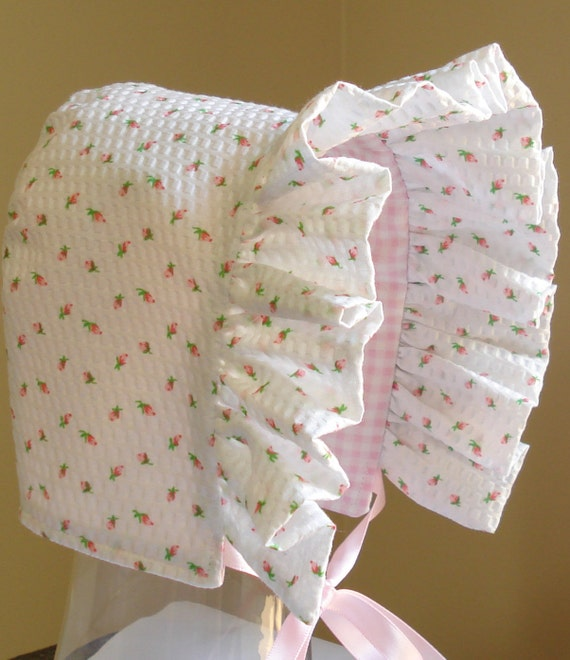 Baby Bonnet- Rose Bud with Gingham Checks-Reversible