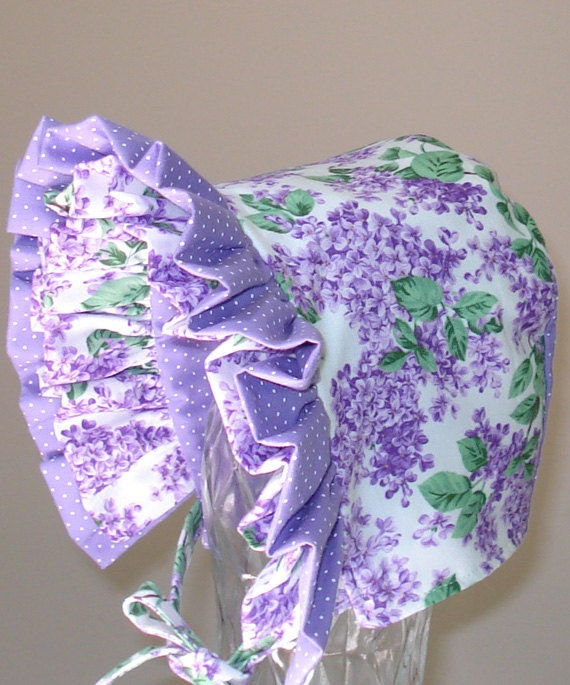 Baby Bonnet- Lilacs are in Bloom- Baby Hat- Reversible