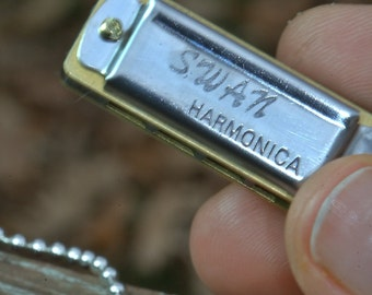 HARMONICA Necklace. WORKS. Love of Music & fun. Blues Jazz Country songs Rock n Roll, ball chain, silver, musician, educational, for him