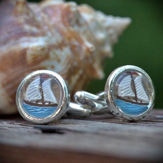 Pirate Cuff links, Vintage, Nautical, Sail boat silver resort wear Ocean, Beach wedding groomsman, best man, fish fishing cuff-link cufflink