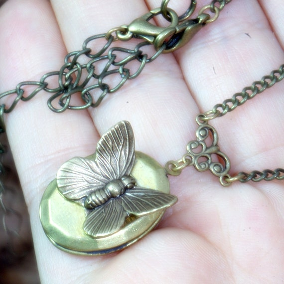 Butterfly Locket Necklace, vintage, Victorian, in memoriam, wedding, romance, Mariposa Papillon, classic, feminine, Antique. Good bye gift