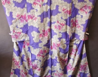 Vintage Kimono Purple Gray Antique Meisen