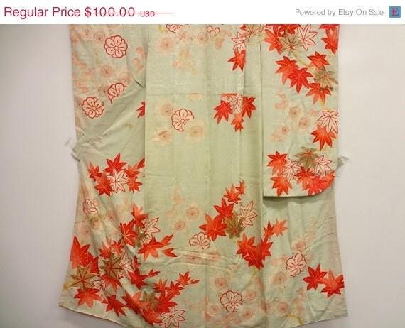 25% Off Sale Vintage Silk Girl's Kimono Momji & Ume