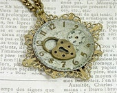 """Steampunk Antique Watch Face """"Time Locked"""" Necklace, 24"""""""