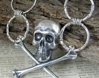 """Gothic Skull and Crossbones silver chain necklace, 24"""""""