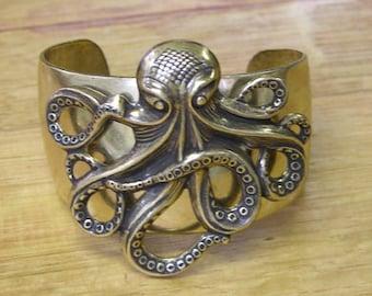 Steampunk Victorian Antique Gold Octopus Cuff Bracelet on Vintage Brass Gold