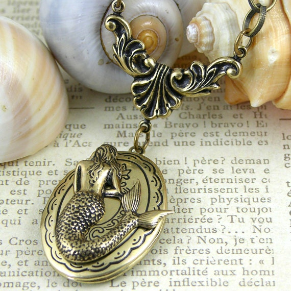 "The Mermaid Locket Necklace, Vintage Gold 24"" Chain"