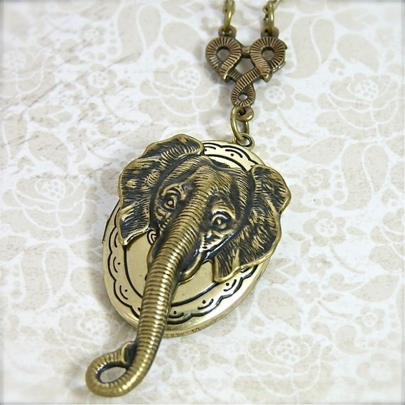 "Save the Elephant Photo Locket Necklace, Vintage Gold 24"" Necklace"