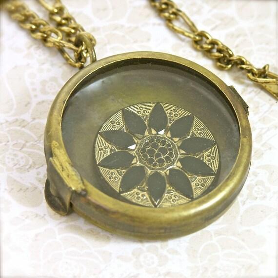 """Steampunk Antique Victorian Style Brass Shadow Box Locket Necklace, 24"""""""