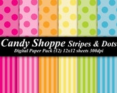 Candy Shoppe Stripes Polka Dots Digital Paper Pack  invitations Birthday 12 12x12 hot pink yellow orange lime blue