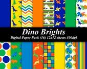 Dino Brights Digital Paper Pack (16) 12x12 sheets 300 dpi scrapbooking invitations dinosaurs