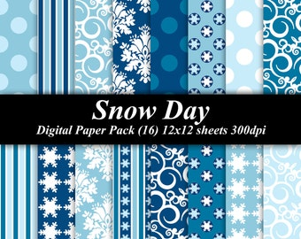 Snow Day Digital Paper Pack scrapbooking invitations (16) 12x12 blue white damask