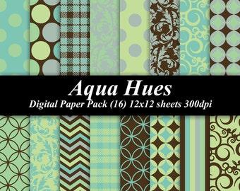 Aqua Hues Paper Pack (16) 12x12 sheets 300 dpi scrapbooking invitations blue teal green brown