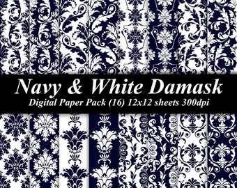 Navy and White Damask Digital Paper Pack (16) 12x12 sheets 300 dpi scrapbooking invitations wedding navy blue white