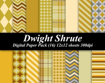 Dwight Shrute Digital Paper Pack (16) 12x12 sheets 300 dpi scrapbooking invitations The Office yellow gray mustard brown