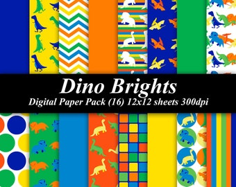 Dino Brights Digital Paper Pack (16) 12x12 sheets 300 dpi scrapbooking invitations dinosaurs