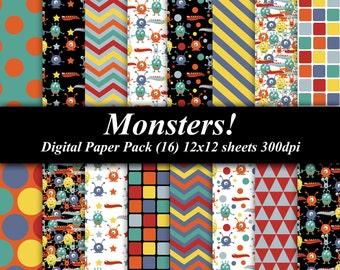 Monsters Digital Paper Pack (16) 12x12 sheets 300 dpi scrapbooking invitations birthday