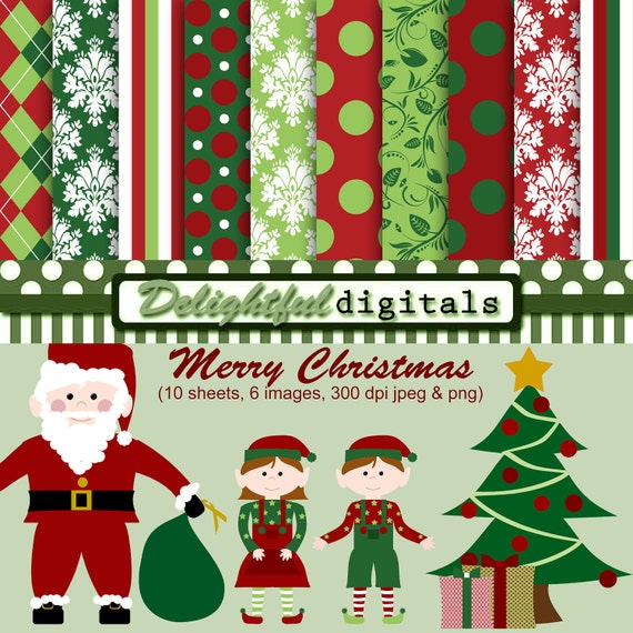 Merry Christmas Deluxe Paper & Clipart Set 300 dpi (10) 12x12 sheets (6) graphic images holiday red green