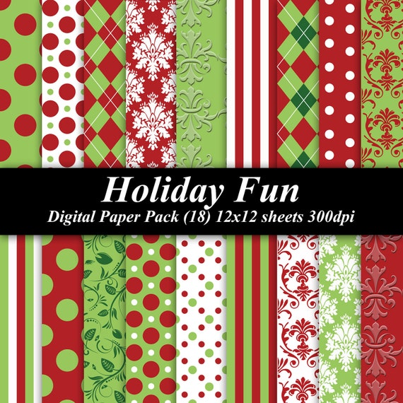 Holiday Fun Christmas Digital Paper Pack graphics invitations 18 12x12 sheets red green
