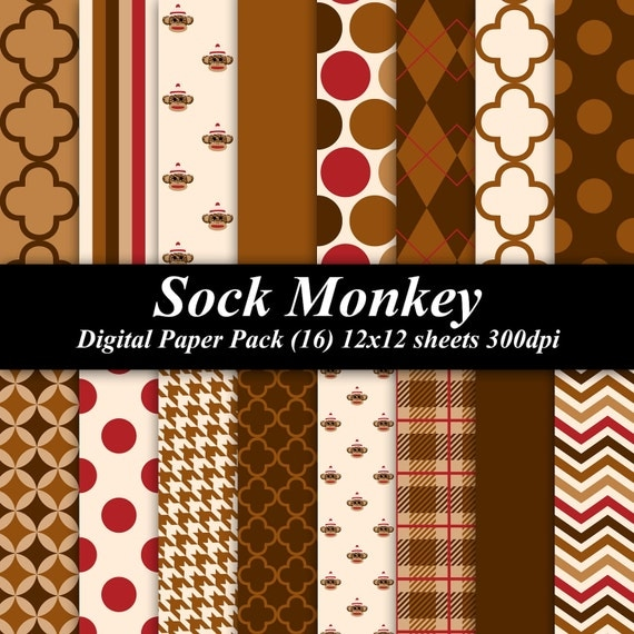 Sock Monkey Paper Pack (16) 12x12 sheets 300 dpi scrapbooking invitations sock monkey brown