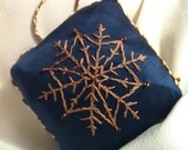 Embroidered Snowflake Christmas Ornament - by BeanTown Embroidery