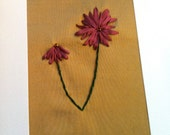 Cyber Monday Sale - SALE Embroidered Flower Card - Valentines Day - Silk Ribbon Embroidery by BeanTown Embroidery