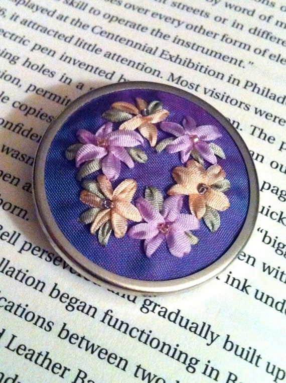 Lavender and Yellow Flower Beaded Brooch - Silk Ribbon Embroidery by BeanTown Embroidery