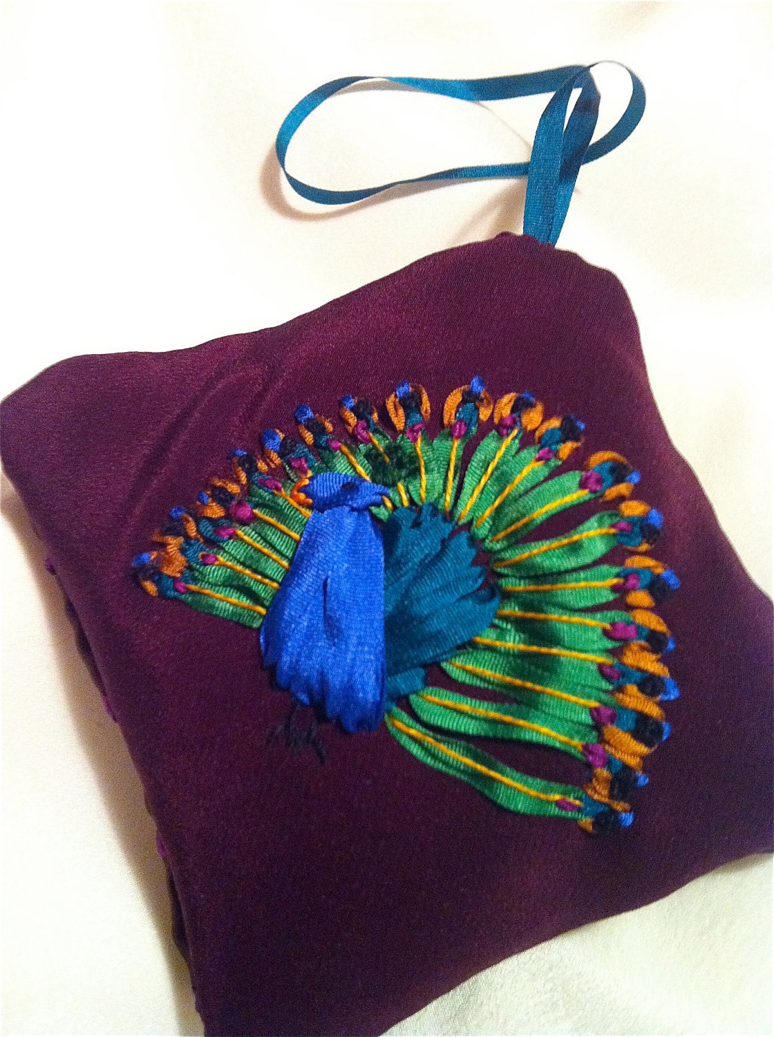 Mothers day sale silk ribbon embroidered peacock sachet