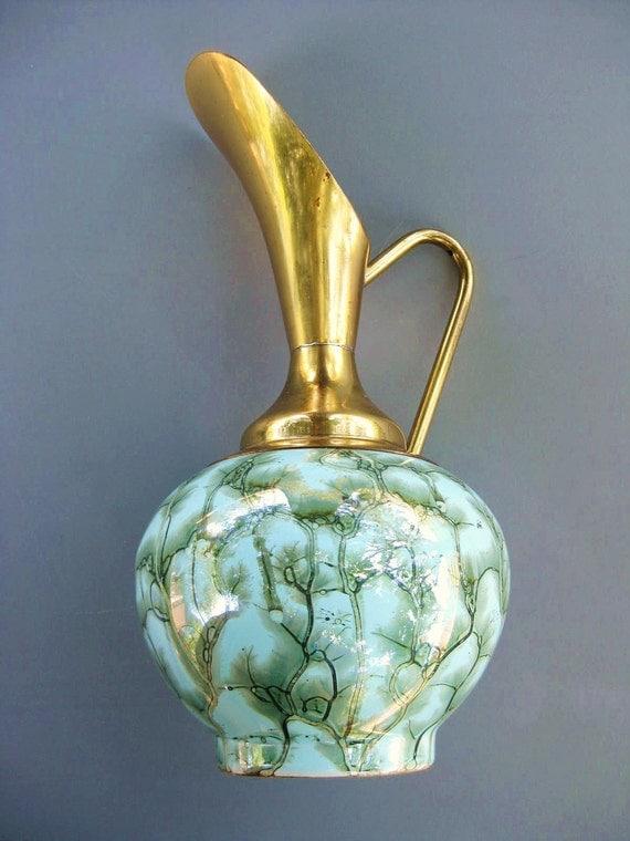 Vintage 1950s Blue Ceramic Hand Painted Delft Holland Brass Pitcher Vase