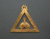 Victorian Fraternal Jewelry . Oversize Pendant Medal Badge . Triangle .