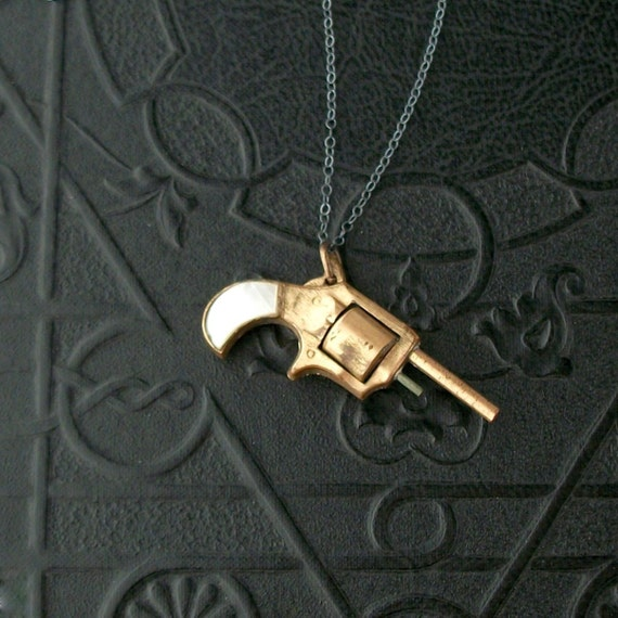 Antique Gun Watch Key Necklace . Mother of Pearl Handle . Sterling Chain .